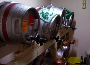 real ale casks in the taproom