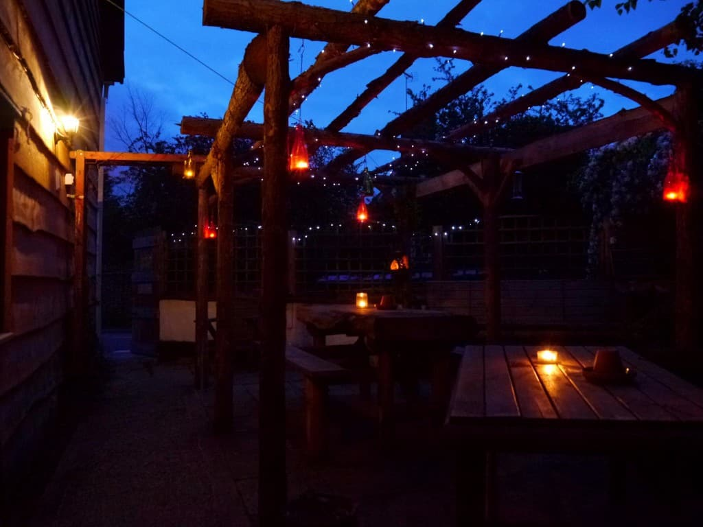 beer garden at night edited