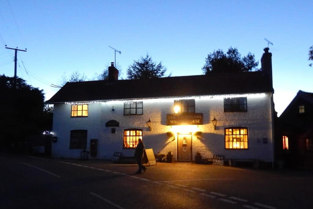 pub lit at night
