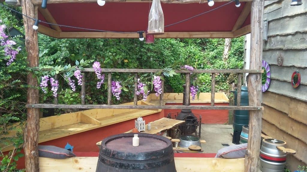 back of beer garden 2021 through ladder